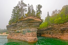 picture of battleship  - Battleship Row in Pictured Rocks National Lakeshore on Lake Superior in Northern Michigan - JPG