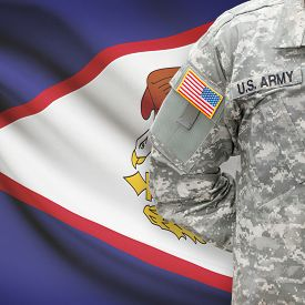 stock photo of samoa  - American soldier with flag on background series  - JPG