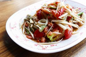 picture of cuttlefish  - spicy papaya salad with shrimp cuttlefish and sea mussel - JPG