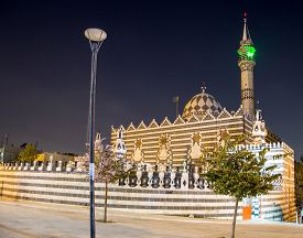 stock photo of amman  - Abu Darweesh Mosque Amman (at night) Jordan. Was built in 1961 by the Circassian community which came to settle in Amman ** Note: Soft Focus at 100%, best at smaller sizes - JPG