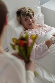 stock photo of grandma  - Caring girl giving ill grandma tulips bouquet - JPG