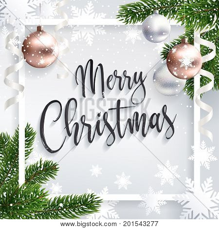 poster of Merry Christmas inscription greeting. White festive background with typography and holidays elements. Christmas tree branches, balls rose gold and serpentine. Calligraphic script. Lettering text.