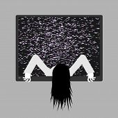 Zombie Girl From Tv. Zombie Comes Out Of Televisor. Interference Glitch Tv. Halloween poster