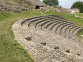 picture of gaul  - Sitting places of ancient Roman theatre in Autun France - JPG