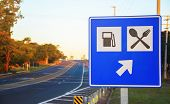 Road Sign At The Roadside Signaling A Gas Station And Food Services On Highway poster