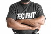 Male security guard on white background, closeup poster