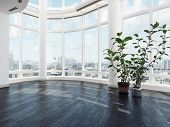 Empty vacant modern luxury apartment or penthouse interior with large curved view windows overlookin poster