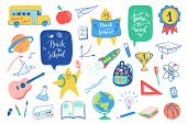 Back To School Doodles Elements Set. Vector Quote Back To School, Time To Read With School Bus, Plan poster