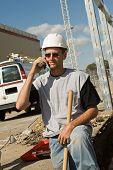 pic of hard_hat  - Worker on Phone - JPG