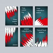 Bahrain Patriotic Cards For National Day. Expressive Brush Stroke In National Flag Colors On Dark St poster