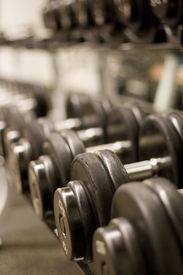 stock photo of weight-lifting  - free weights - JPG