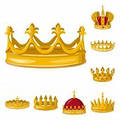 Vector Design Of Monarchy And Gold Symbol. Collection Of Monarchy And Heraldic Vector Icon For Stock poster