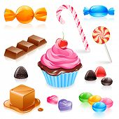 Set of various candy elements including caramel, chocolate, lollipops and fruit gum