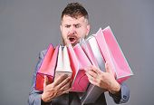 Satisfying Shopping Tour. Exclusive Commercial Offer. Man Bearded Businessman Customer Carry Many Sh poster