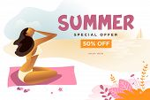Summer Sale Banner. Flat Design Vector Illustration Of Mobile And Social Media Banner Template, Onli poster