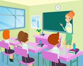 Vector Illustration Of Teacher In Classroom With Kids. Female Teacher Standing Near Board In Class,  poster