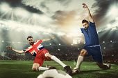 Blocking And Intense Conversation. Football Or Soccer Players Colored In United Kingdom And European poster
