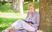 Self Improvement Book. Business Lady Find Minute To Read Book Improve Her Knowledge. Girl Lean On Tr poster