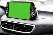 Vehicle Modern Green Screen Navigation System Close Up Car Mock-up Banner - Multimedia System With A poster