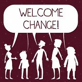 Handwriting Text Writing Welcome Change. Concept Meaning To Accept With Pleasure The Occurrence Long poster