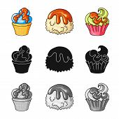 Vector Design Of Confectionery And Culinary Sign. Collection Of Confectionery And Product Stock Vect poster