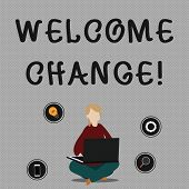 Conceptual Hand Writing Showing Welcome Change. Business Photo Showcasing To Accept With Pleasure Th poster