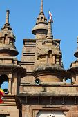 image of vihara  - Beautiful towers of modern Mulagandhakuti Vihara temple sarnath - JPG
