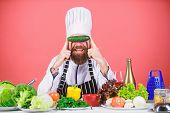 Man Cook Hat Apron Hold Fresh Vegetables. Vegetarian Recipe Concept. Vegetarian Restaurant. Buy Fres poster