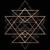 Mandala Sri Yantra Chakra Tantra Spirituality Esoteric Zen Illustration Golden Metallic poster