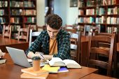 Student with laptop studying in library poster