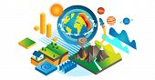 Geo Isometric Set Vector Illustration. Geology And Geography Elements Collection. Various Earth Soil poster