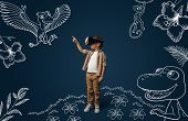 Painted Dream About Jurassic Period With Dinosaurs In The Jungle. Little Boy With Virtual Reality He poster