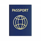 Realistic International Passport Blue Cover Template. Passport Document Id. International Pass For T poster