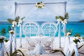 Beach Wedding Arch Gazebo Ceremonial Decorated With White Flowers On A Tropical Grand Anse Sand Beac poster