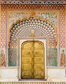 Lotus Gate Locates In The Southwest Of City Palace, Jaipur, India, Is Adorned With Dramatic Lotus Pe poster