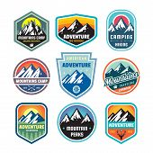 Set Of Adventure Outdoor Concept Badges, Summer Camping Emblem, Mountain Climbing Logo In Flat Style poster