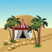 Nomad Tent In Desert - Landscape For Cartoon Or Game Asset. Sand Dunes, Bedouin Tent, Palms, Rocks.  poster
