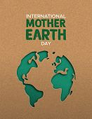 International Mother Earth Day Poster Illustration Of Green Papercut World Map. Recycled Paper Cutou poster