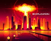 Nuclear Explosion In Metropolis Cartoon Vector Concept. Fiery Mushroom Cloud Of Atomic Bomb Detonati poster