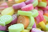 Multi Color Candy With Sticks Closeup. Colorful Candy Background. Candy With Rainbow Colors From Chi poster