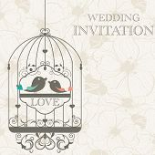 picture of wedding invitation  - Vector pattern for wedding invitation with birds - JPG