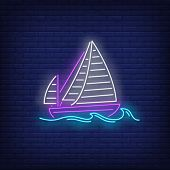 Sailing Ship On Sea Waves Neon Sign. Vessel, Voyage, Adventure Design. Night Bright Neon Sign, Color poster