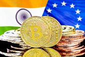Concept For Investors In Cryptocurrency And Blockchain Technology In The India And European Union. B poster
