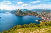 Scenic View Of Lake Lugano With Monte San Salvatore And Lugano Town From Monte Bre,  Ticino, Switzer poster