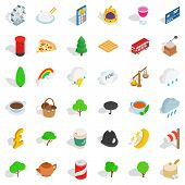 Land Of Britain Icons Set. Isometric Set Of 36 Land Of Britain Icons For Web Isolated On White Backg poster