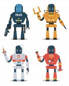 Set Of Robot Characters. Police Robot, Construction Robot, Medical Robot, Firefighter Robot poster