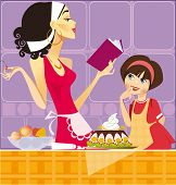 foto of mother daughter  - two confectioners  - JPG