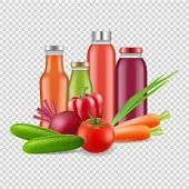 Fresh Juices Isolated On Transparent Background. Vector Vegetables Juice. Illustration Of Vegetable  poster