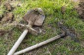 Shovel And Garden Rake, Garden Tools, Metal Garden Rake To Make The Garden, Dig Garden Soil, Do Gard poster
