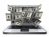 stock photo of money prize  - White laptop and money  - JPG